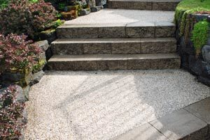 concrete steps with exposed aggregate finish